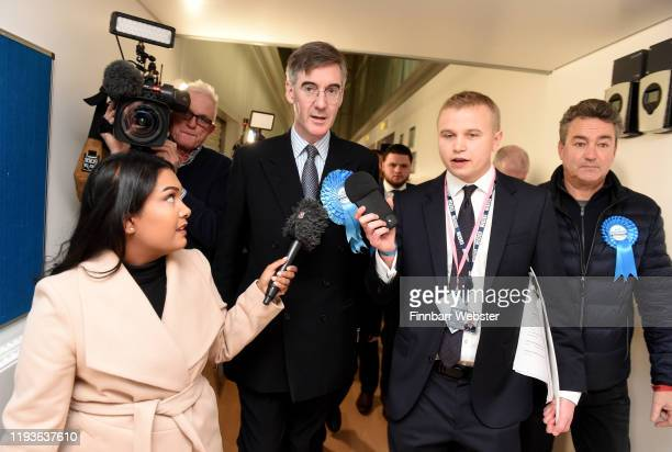 Conservative Party parliamentary candidate Jacob Rees-Mogg after winning the North East Somerset constituency at the Sports Training Village,...
