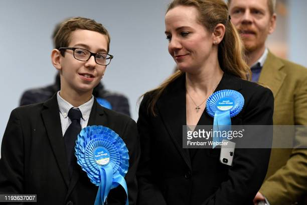Conservative Party parliamentary candidate Jacob ReesMogg's wife Helena and son Peter watch the results of the North East Somerset constituency at...