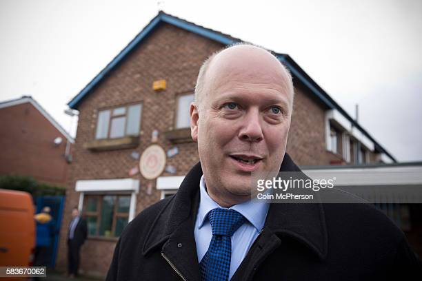 Conservative Party politician and British government minister Chris Grayling pictured outside a community centre in Wythenshawe during byelection...