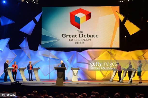 Conservative Party politician Boris Johnson Gisela Stuart Energy Minister Andrea Leadsom presenter David Dimbleby Scottish Conservative leader Ruth...