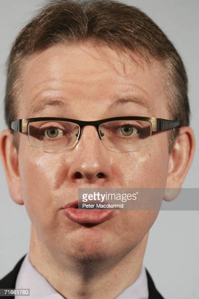 Conservative party Shadow Minister for Housing Michael Gove addresses a discussion group on help for first time property buyers on August 17 2006 in...