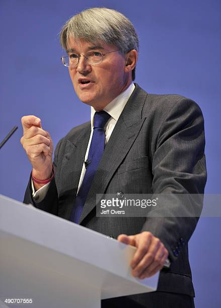 Conservative Party Shadow Secretary of State for International Development Andrew Mitchell addresses the Conservative Party Conference at The ICC...