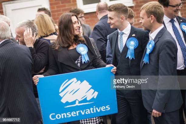 Conservative Party supporters wait to welcome Prime Minister Theresa May at Sedgley Conservative Club on May 4 2018 in Dudley United Kingdom Whilst...
