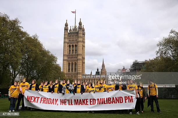 Conservative Party supporters wear Nicola Sturgeon masks during a photocall in Victoria Tower Gardens on May 1, 2015 in London, England. The stunt...