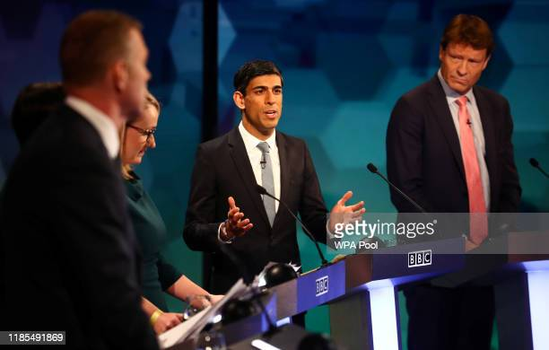 Conservative Party's Chief Secretary to the Treasury Rishi Sunak speaks during a general election debate on November 29, 2019 in Cardiff, Wales.
