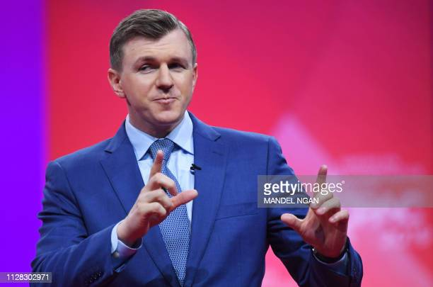 Conservative political activist James O'Keefe speaks during the annual Conservative Political Action Conference in National Harbor, Maryland, on...