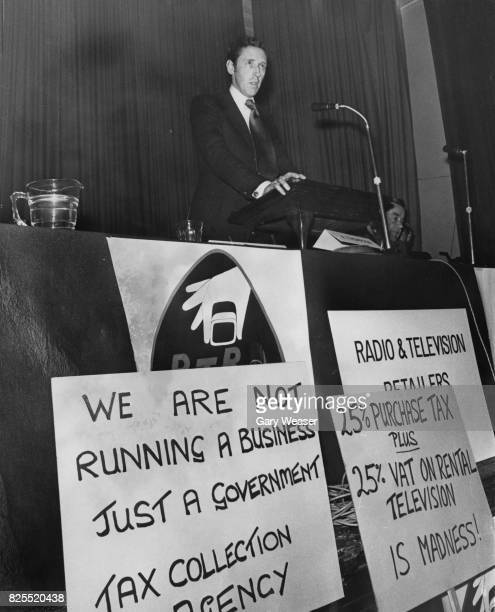 Conservative politician David Howell the opposition spokesman on Economic Affairs addresses a meeting of the Radio and Television Retailers'...