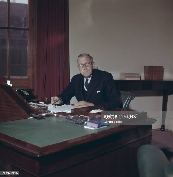 Conservative politician Derick HeathcoatAmory 1st Viscount Amory the new Chancellor of the Exchequer 1958