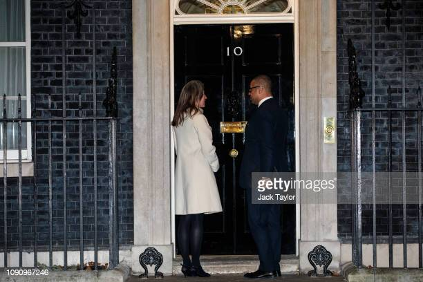 Conservative politician James Cleverly and his wife Susannah Janet Temple Cleverly arrive for a drinks reception at 10 Downing Street on January 07...