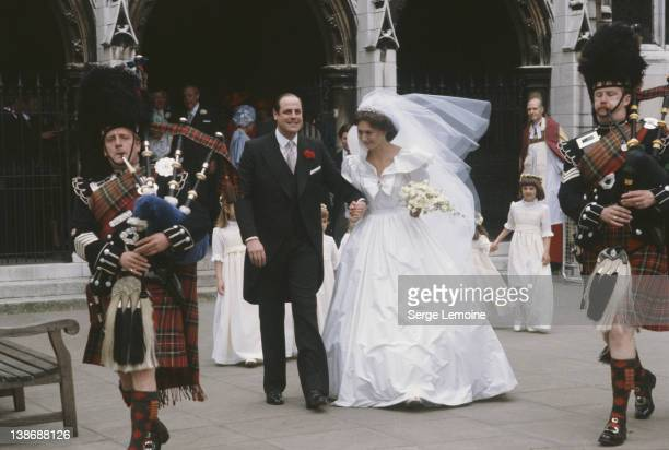 Conservative politician Nicholas Soames marries Catherine Weatherall at St Margaret's Church in Westminster London 4th June 1981