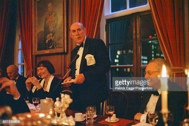 Conservative politician Peter Brooke guest speaker at the 2000 Wisden Cricketers' Almanack Dinner with Victoria Getty and Wisden editor Matthew Engel...