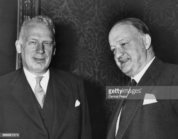 Conservative politician Rab Butler the British Foreign Secretary meets George Ball the United States Under Secretary of State at the Foreign Office...