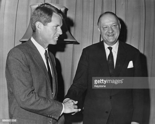 Conservative politician Rab Butler the British Foreign Secretary meets US Attorney General Robert F Kennedy at the Foreign Office in London 24th...