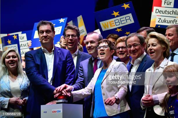 Conservative politicians including leader of the conservative Christian Social Union party Markus Soeder Manfred Weber top candidate of the European...