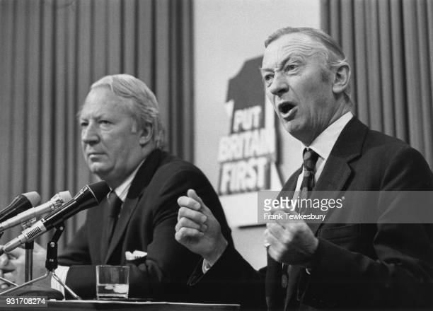 Conservative politicians Robert Carr and Edward Heath during the Conservative Party election conference in London 4th October 1974