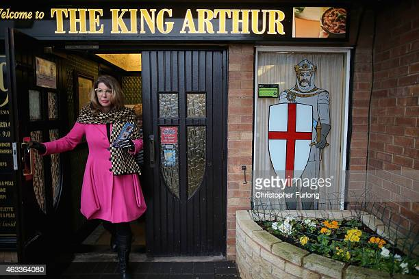 Conservative prospective parliamentary candidate Sue Arnold leaves The King Arthur pub as she canvasses on the streets of the Walsall South...