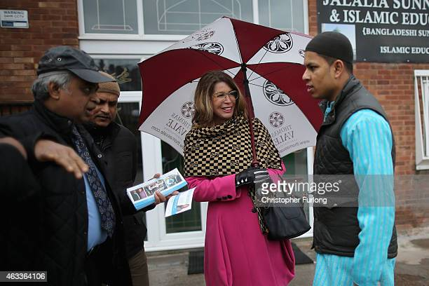 Conservative prospective parliamentary candidate Sue Arnold meets local residents as they arrive for Friday prayers at the Jalalia Sunni Jami Masjid...