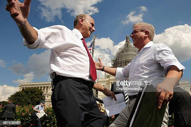 Conservative pundit Glenn Beck embraces Rep. Louie Gohmert before taking the stage during a rally against the Iran nuclear deal on the West Lawn of...