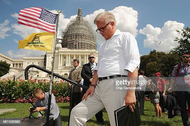 Conservative pundit Glenn Beck prepares to take the stage during a rally against the Iran nuclear deal on the West Lawn of the U.S. Capitol September...