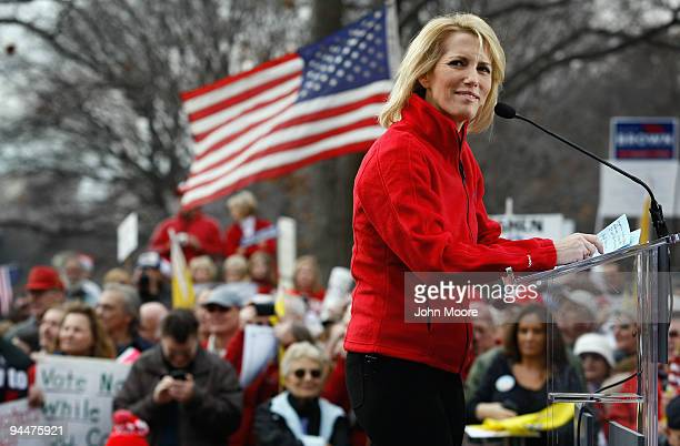 Conservative radio host and commentator Laura Ingraham addresses a health care reform protest on December 15 2009 in Washington DC Demonstrators many...