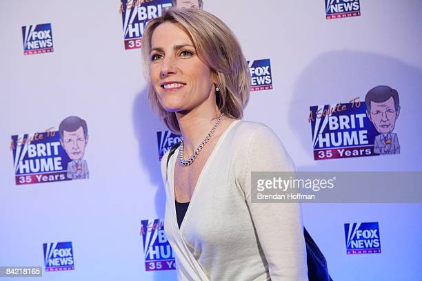 Conservative radio host Laura Ingraham poses on the red carpet upon arrival at a salute to FOX News Channel's Brit Hume on January 8 2009 in...