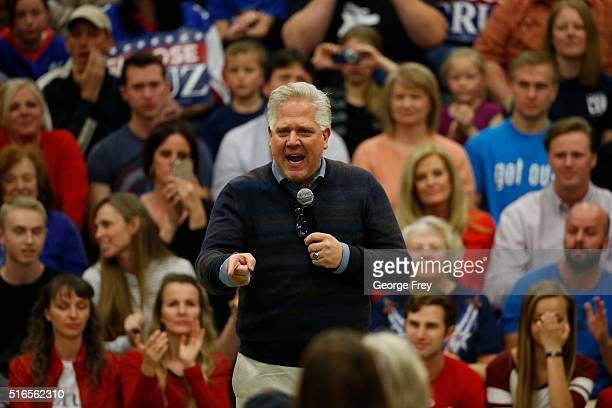 Conservative radio talk show host Glenn Beck speaks at a rally for Republican presidential candidate Sen. Ted Cruz at Provo High School on March 19,...