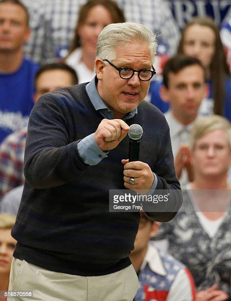 Conservative radio talk show host Glenn Beck speaks at republican presidential candidate Ted Cruz campaign rally on March 19, 2016 in Provo, Utah....