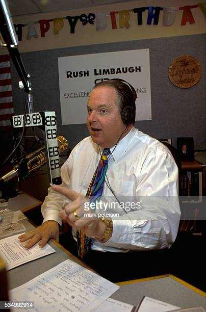 Conservative radio talk show host Rush Limbaugh makes a statement during his radio show