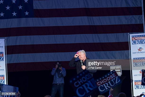 Conservative talk radio host Glenn Beck endorses Republican presidential candidate Ted Cruz before Cruz made a speech to supporters during a campaign...