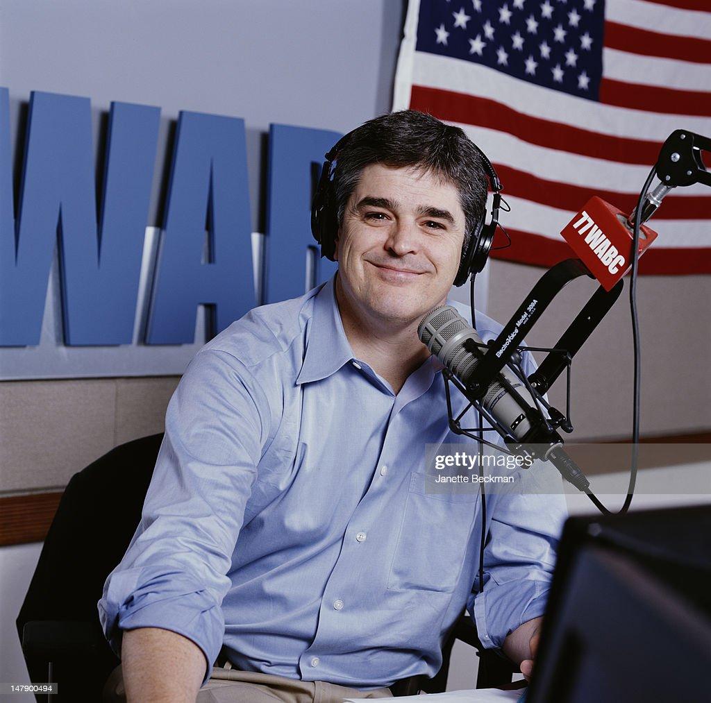 Conservative talk show host Sean Hannity in the WABC studio, New York City, 2002.