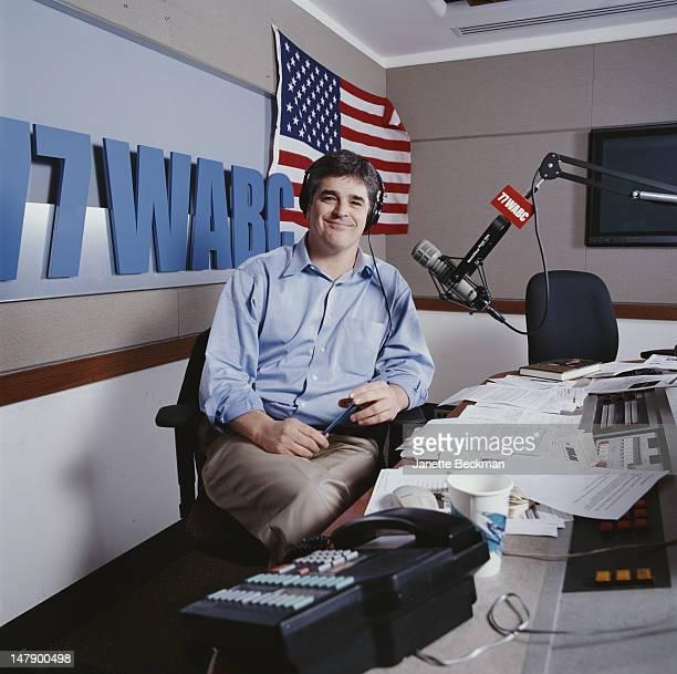 Conservative talk show host Sean Hannity in the WABC studio New York City 2002