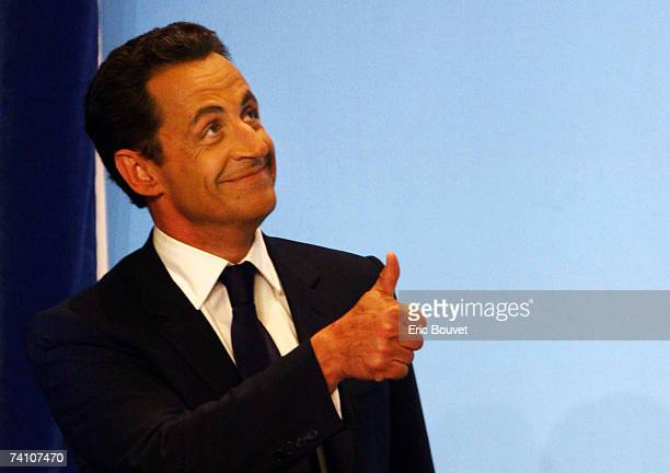 Conservative UMP Leader and French Presidential candidate Nicolas Sarkozy celebrates victory in the Second Round of the French Presidential Elections...