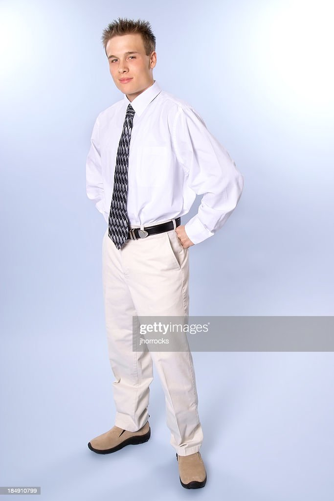 Conservative Young Man with clipping path : Stock Photo