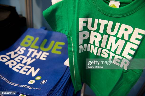 Conservatives party souvenirs are on sale in the giftshop on the first day of the Conservatives Party Conference at the ICC Birmingham UK on October...