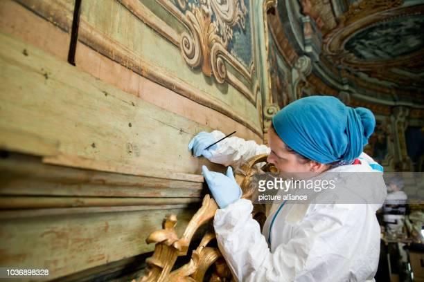 Conservatorrestorer Friederike Labahn pictured during restoration work on the Margravial Opera House in Bayreuth Germany 24 May 2016 PHOTO DANIEL...