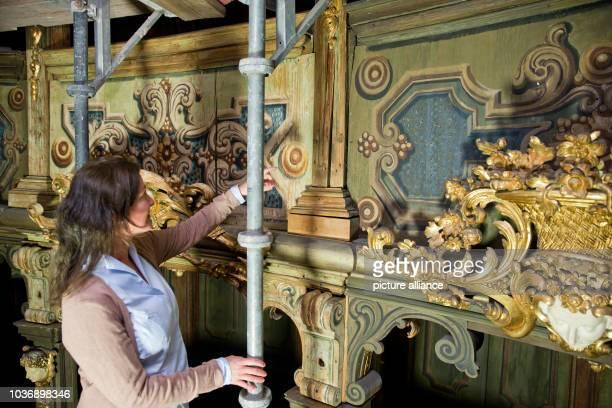 Conservatorrestorer Melissa Speckhardt explains the condition before and after restoration pictured during restoration work on the Margravial Opera...