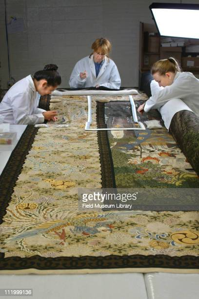 Conservators working on 22 foot Japanese Silk tapestry originally displayed at the World's Columbian Exposition of 1893 2004