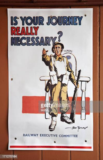 conserve energy old ww2 railway station poster - posters and propaganda stock pictures, royalty-free photos & images