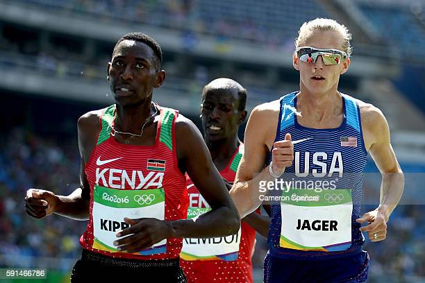 Conseslus Kipruto of Kenya and Evan Jager of the United States compete in the Men's 3000m Steeplechase Final on Day 12 of the Rio 2016 Olympic Games...