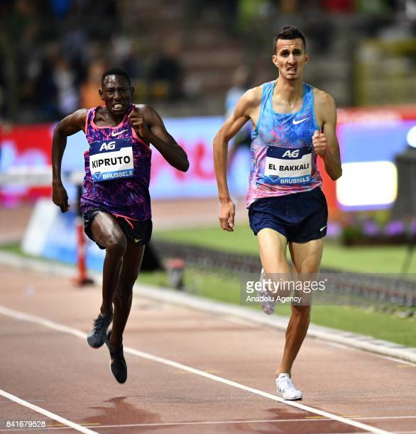 Conseslus Kipruto of Kenya and Soufiane Elbakkali of Morocco compete in the Men's 3000 metres Steeplechase during the IAAF Diamond League Memorial...