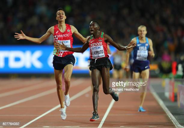 Conseslus Kipruto of Kenya celebrates as he crosses the line to win the Men's 3000 metres Steeplechase final during day five of the 16th IAAF World...