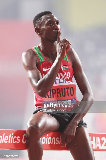 Conseslus Kipruto of Kenya celebrates winning gold in the Men's 3000 metres Steeplechase final during day eight of 17th IAAF World Athletics...
