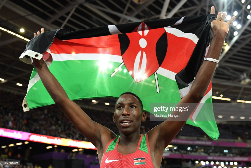 Conseslus Kipruto of Kenya celebrates with the Kenyan flag after winning the Men's 3000 metres Steeplechase final during day five of the 16th IAAF World Athletics Championships London 2017 at The London Stadium on August 8, 2017 in London, United Kingdom.