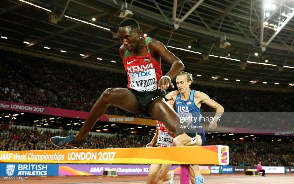 Conseslus Kipruto of Kenya competes in the Men's 3000 metres Steeplechase final during day five of the 16th IAAF World Athletics Championships London 2017 at The London Stadium on August 8, 2017 in London, United Kingdom.