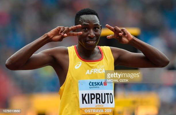 Conseslus Kipruto of Kenya from Team Africa reacts after the Men 3000m Steeplechase event at the IAAF Continental Cup on September 8 2018 in Ostrava...