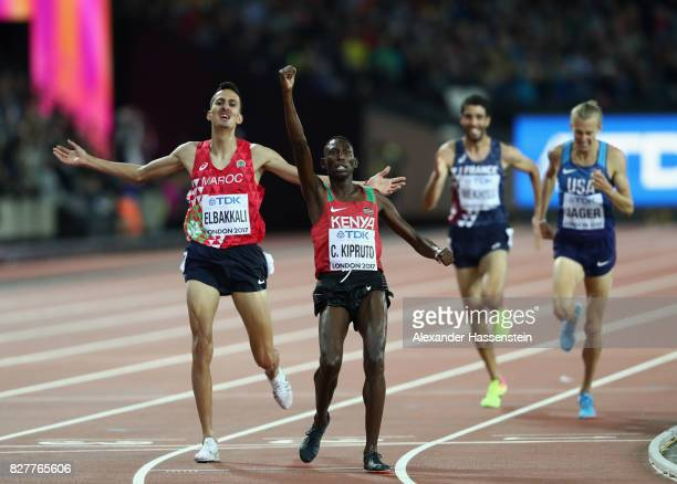 Conseslus Kipruto of Kenya gold and Soufiane Elbakkali of Morocco silver celebrate as they cross the line in the Men's 3000 metres Steeplechase final...