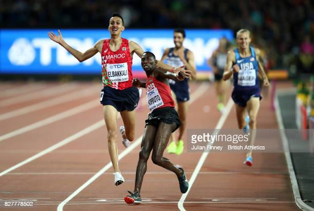 Conseslus Kipruto of Kenya, gold, and Soufiane Elbakkali of Morocco, silver, celebrate as they cross the line in the Men's 3000 metres Steeplechase...