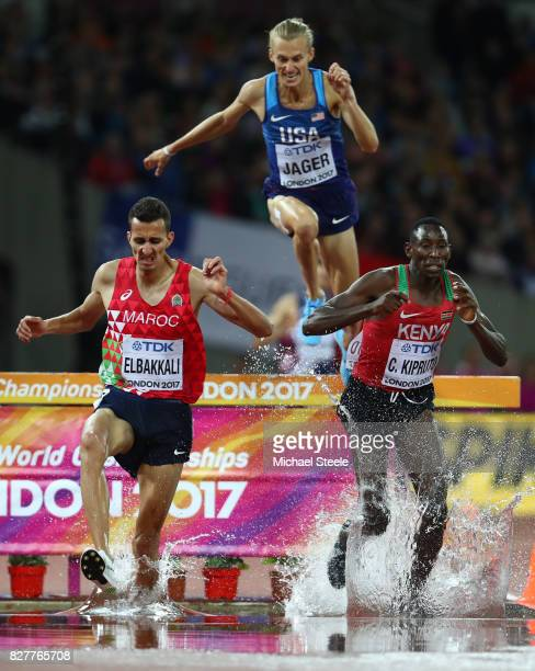 Conseslus Kipruto of Kenya Soufiane Elbakkali of Morocco and Evan Jager of the United States compete in the Men's 3000 metres Steeplechase final...