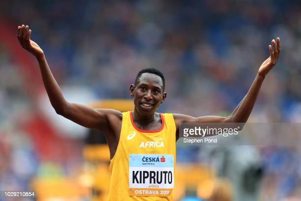 Conseslus Kipruto of Team Africa celebrates victory following the Mens 3000 Metre Steeplechase during day one of the IAAF Continental Cup at Mestsky...