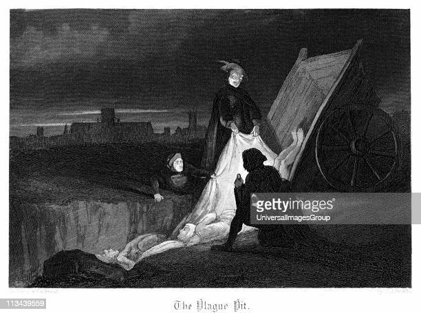 Consigning bodies of the plague to a communal grave in the plague pit Plague of London 1665 Illustration by John Franklin for W Harrison Ainsworth...
